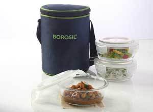 Borosil Klip N Store Microwavable Containers, 400ml, Set of 3 with Lunch Bag