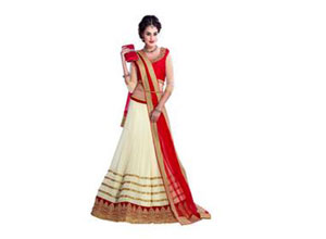 Sanjwega Georgette Embroidered Semi Stitched Lahengas For Women