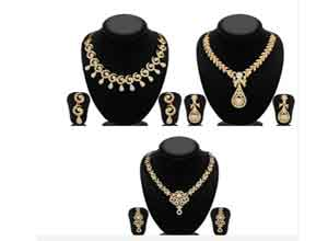 Sukkhi Pack of 3 Gold Plated AD Necklace Sets