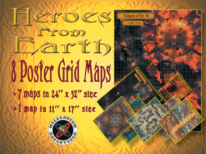 HEROES FROM EARTH  RPG Book with Videos and Maps    Indiegogo 8 Poster Size Grid Maps