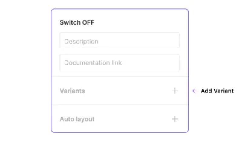 Une partie du panneau de la barre latérale de conception montrant la position du bouton pour ajouter des variantes.