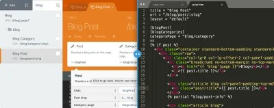 Editing an element through October CMS' built-in editor and in an external text editor