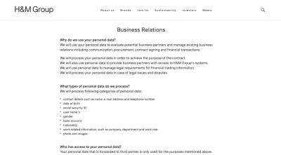 La page de confidentialité de H&M - formatée comme la page des services d'entreprise