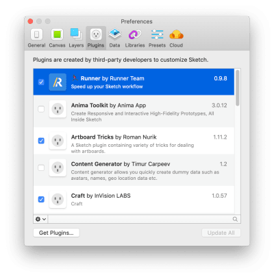 Plugin manager in Sketch
