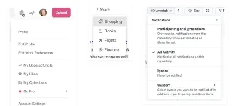 Exemple de menus déroulants de Dribbble, recherche Google et GitHub