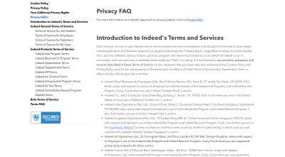 Indeed Legal page avec des informations sur les cookies, la confidentialité, les droits des utilisateurs de Californie et les conditions d'utilisation