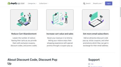La page de l'application Shopify pour Code de réduction, Pop-up de remise comprend un compagnon attrayant graphiques pour ses fonctionnalités et avantages