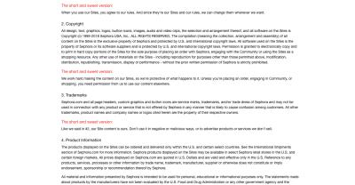 La page des conditions d'utilisation de Sephora comprend «La version courte et douce» en rouge pour résumer son jargon juridique complexe