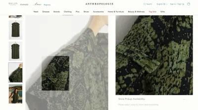 Anthropologie product zoom - robe verte et noire en gros plan
