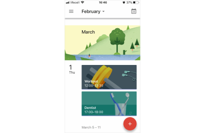 Illustration in UI: Google Calendar