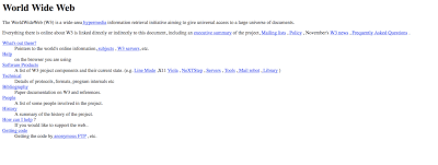 CERN was the first website created just with plain text and hyperlinks.