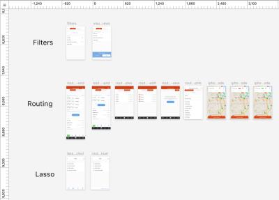 Screenshot of organizing a design file in the program Sketch.