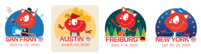 Four different illustrations designed by Ricardo Gimenes dressed up in different costumes representing each city where the SmashingConf will take place this year