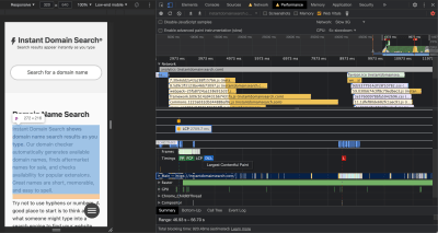 Capture d'écran du volet Performances dans Chrome DevTools