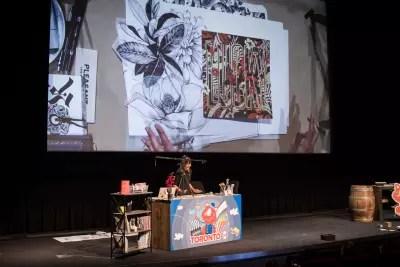 Gemma O'Brien presenting with no slides at SmashingConf Toronto 2018