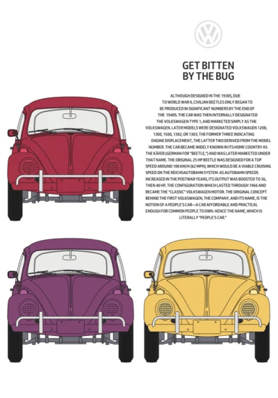 A symmetrical 2x2 grid with text sculpted into the iconic shape of the Volkswagen Beetle on medium-size screens.