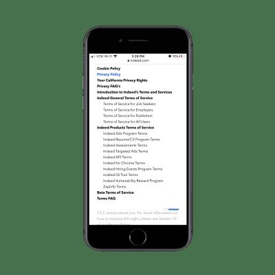 Site Web Indeed mobile avec navigation déroulante pour la page légale