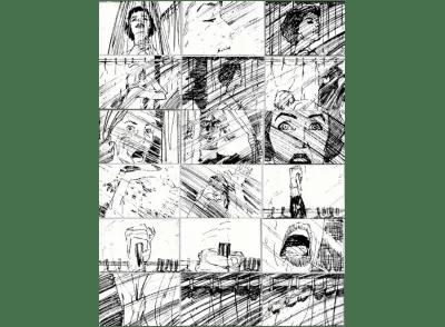 Esquisses du storyboard de la scène de la douche dans le long métrage d'Alfred Hitchcock 'Psycho'