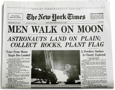 Cover of The New York Times, 21 July, 1969