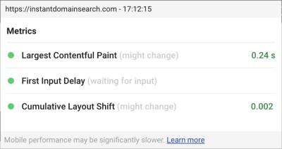 Capture d'écran de l'affichage tête haute du plug-in Chrome Web Vitals