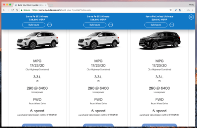 Hyundai car configurator with a feature comparison