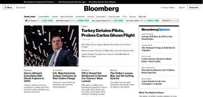 Desktop homepage of Bloomber.com