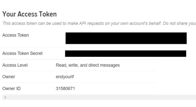 Retrieving Twitter's Access Tokens