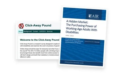 The cover page of The Purchasing Power of Working-Age Adults With Disabilities report placed over a screenshot of the Click Away Pound Survey homepage