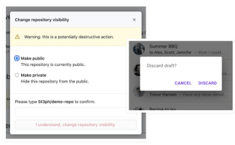 Exemple de modaux de GitHub et Material Design