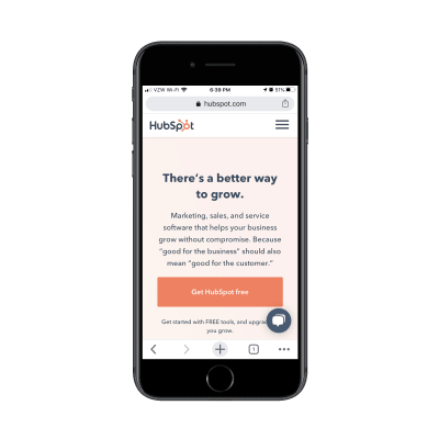 Hubspot mobile site with chatbot widget
