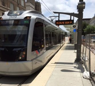 Photo by Kenric Ward IN HOUSTON: Metro trains serve Houston's baseball and football stadiums in and around downtown.