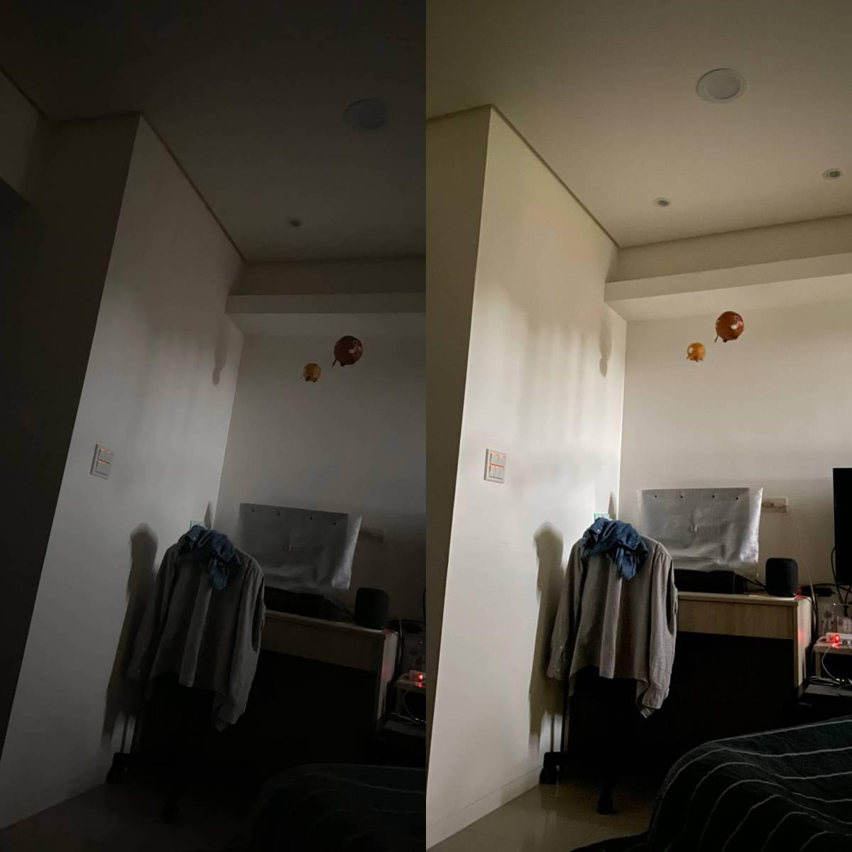 iPhone 11 pro 夜拍測試:左為沒開夜拍模式,右邊為開夜拍模式
