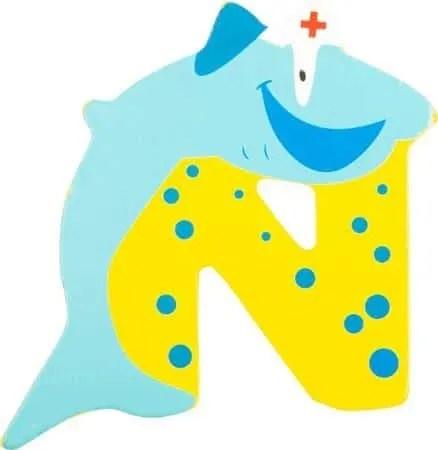 Lettre N en bois jaune motif grand requin 7cm