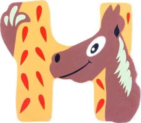 Lettre H en bois miel motif grand cheval 7cm
