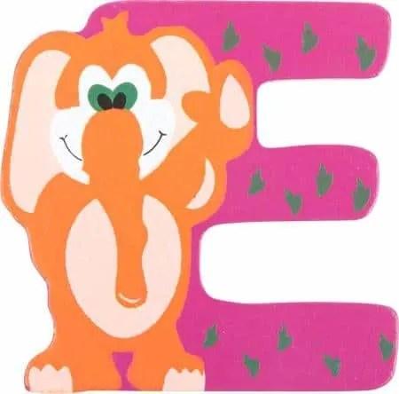 Lettre E en bois rose motif grand eléphant 7cm
