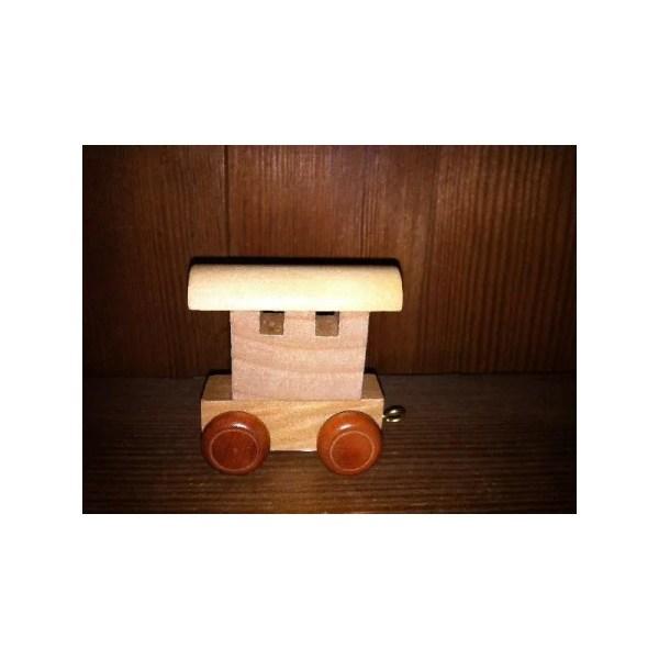 Wagon de fin de prénom, train, en bois
