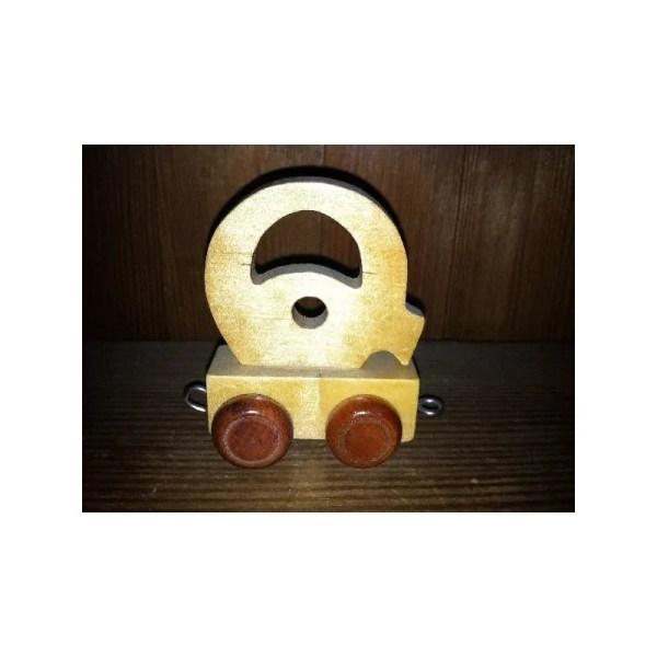 Lettre Q du train, en bois