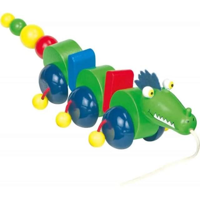 crocodile a tirer en bois