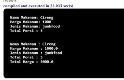 Contoh Program Java Input Menu Makanan - MadrasahJOS
