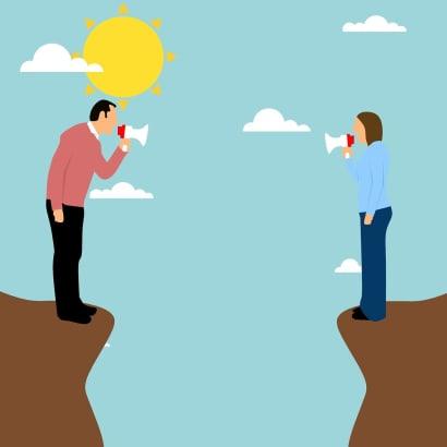 Ilustración- Hombre y mujer separados en un risco