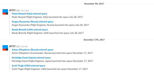 Slack Channel with Space Activities