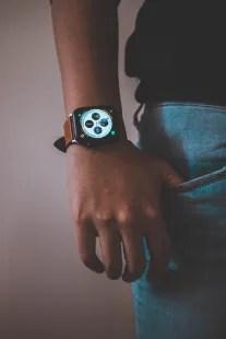 Men wearing wearable wristband (apple watch)