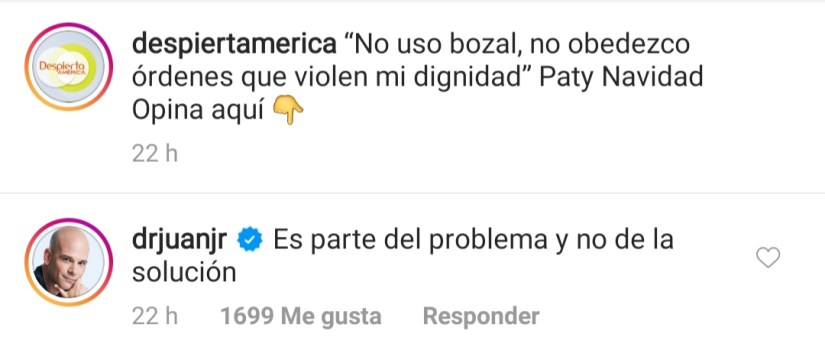 Paty Navidad says that she does not use mouth covers and Dr. Juan Rivera goes out to scold her '