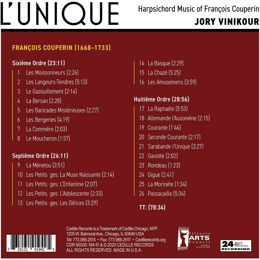 Photo No.2 of LUnique: Harpsichord music of François Couperin