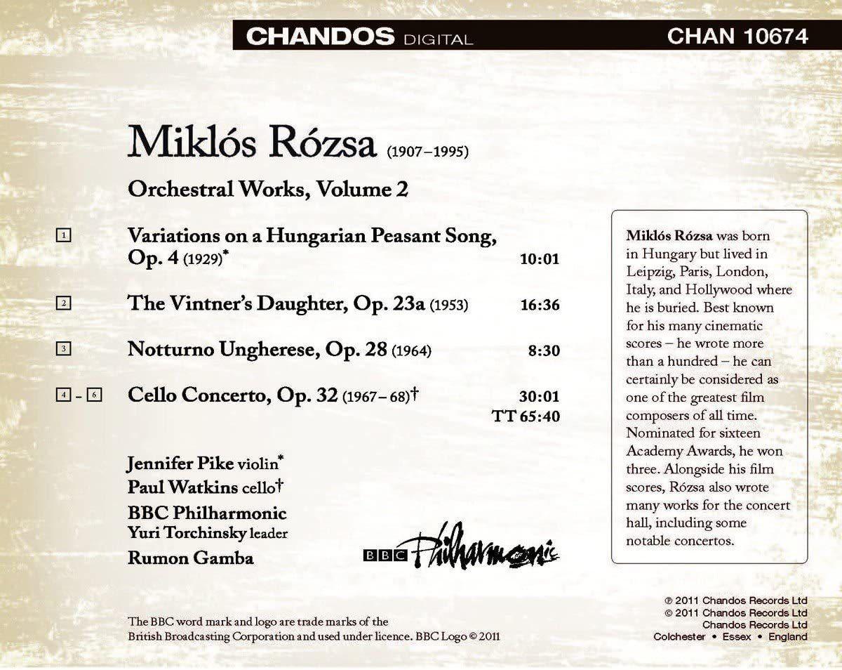 Photo No.2 of Miklós Rózsa: Orchestral Works Volume 2