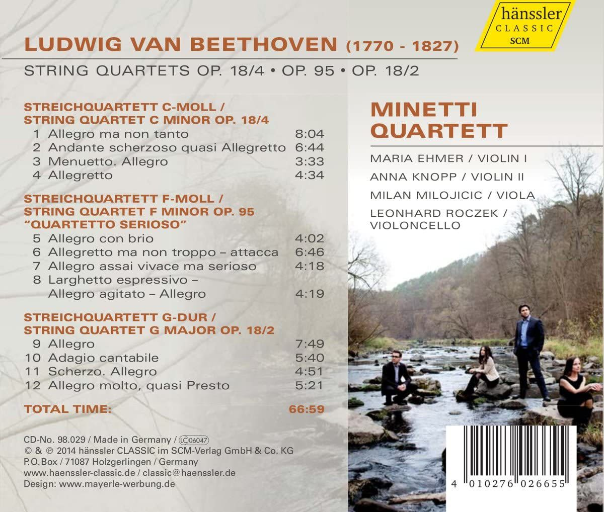 Photo No.2 of Beethoven: String Quartets Nos. 2, 4 & 11
