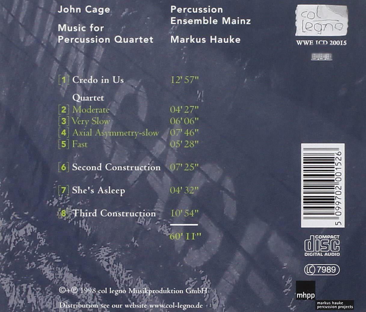 Photo No.2 of John Cage: Music for percussion quartet