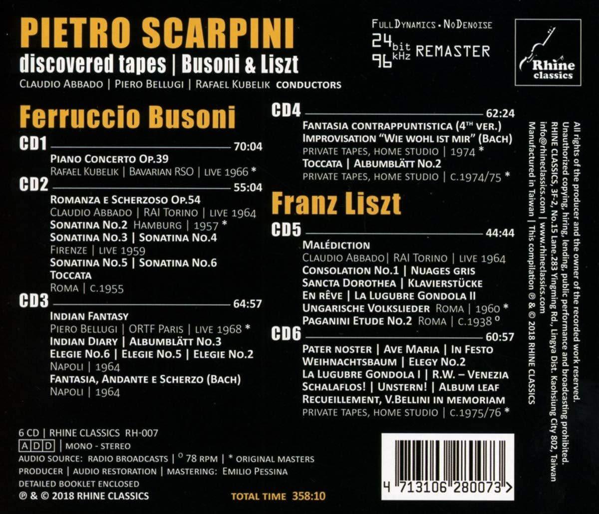 Photo No.2 of Pietro Scarpini: Discovered Tapes - Busoni and Liszt