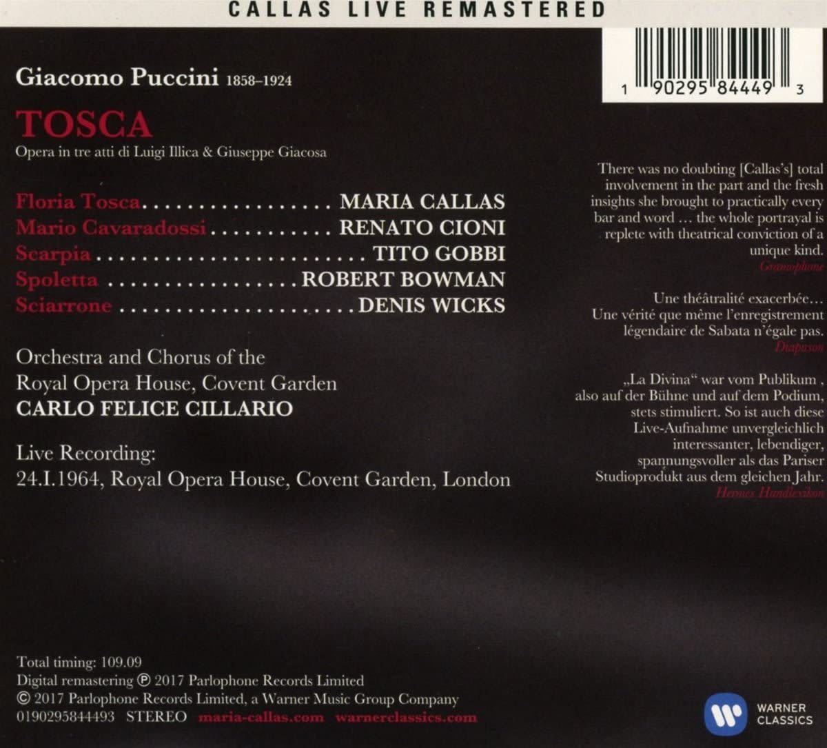 Photo No.2 of Giacomo Puccini: Tosca (Remastered Live Recording London 24.01.1964)