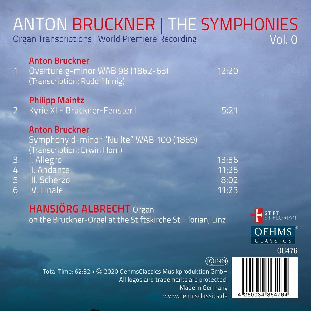 Photo No.2 of Bruckner: The Symphonies Vol. 1 (Organ Transcriptions)